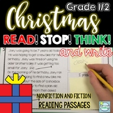 Christmas Reading Passages Grades 1-2 with Built in Stop and Think