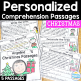 Christmas Reading Passages: PERSONALIZED Comprehension Dec