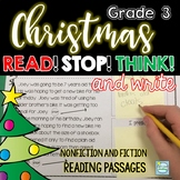 Christmas Reading  Passages 3rd Grade Stop Think Write ~ Comprehension Questions