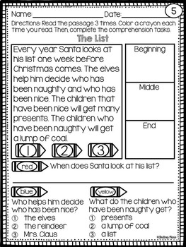 Christmas Reading Passages and Writing Prompts