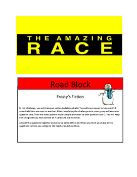 Christmas Reading Review Game Amazing Race Theme (3 genres)