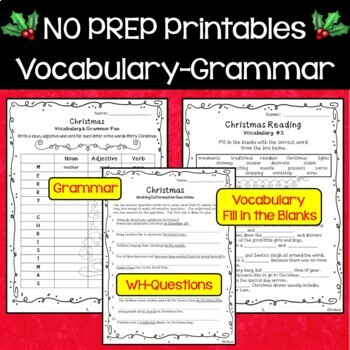 Christmas Reading, Vocabulary and More