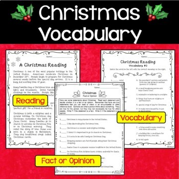 Christmas Reading and Vocabulary