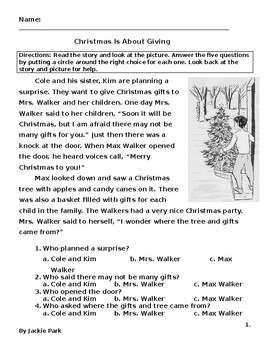 Christmas Reading Worksheet w/ 5 Multiple Choice Questions on Story Characters