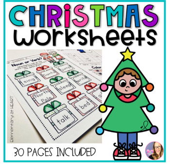 Christmas Reading and Math Worksheets (Kindergarten and Fi