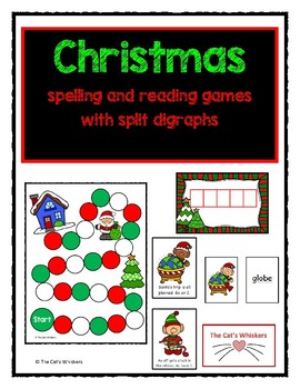 Christmas Reading and Spelling Games Split Digraphs
