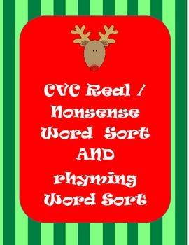 Christmas Real and Nonsense Word Sort  AND Rhyming Word Sort