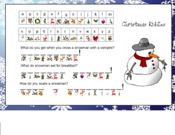 Christmas Rebus Riddles For Smart Board By Paula Peterson Tpt