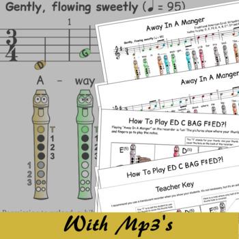 Christmas Recorder Sheet Music - Away In A Manger (Kirkpatrick) G