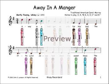 Recorder Christmas Sheet Music - Away In A Manger (Murray) - Digital Print G