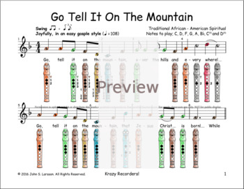 Christmas Recorder Sheet Music - Go Tell It On The Mountain F