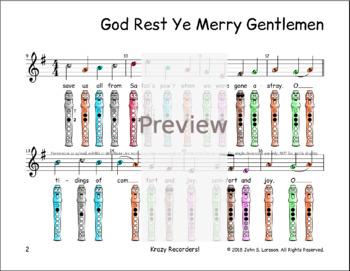 Recorder Christmas Sheet Music - God Rest Ye Merry Gentlemen G