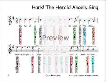 Hark The Herald Angels Sing - Christmas Recorder Sheet Music - G