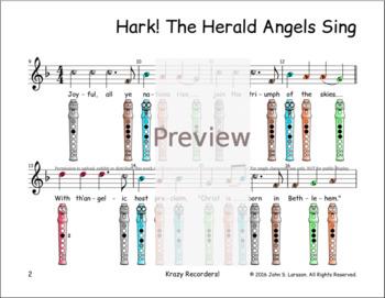 Christmas Recorder Sheet Music - Hark The Herald Angels Sing F