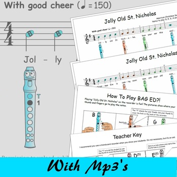 Christmas Recorder Sheet Music Jolly Old Stcholas Tpt