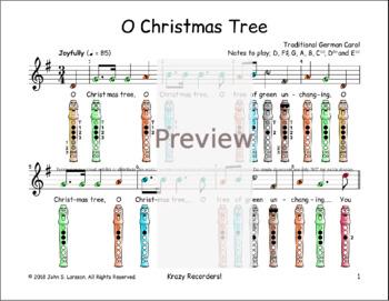 Recorder Christmas Sheet Music - O Christmas Tree