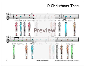 Recorder Christmas Sheet Music - O Christmas Tree
