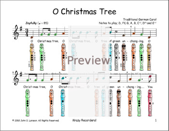 Recorder Christmas Sheet Music - O Christmas Tree G