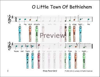Christmas Recorder Sheet Music - O Little Town Of Bethlehem G