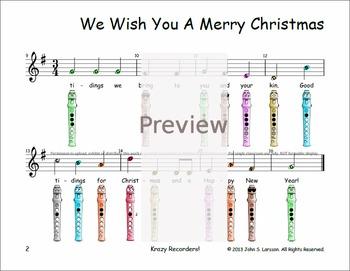 Recorder Christmas Sheet Music - We Wish You A Merry Christmas | TpT