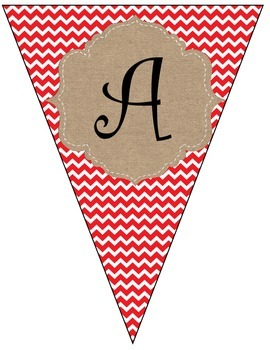 Christmas Red Chevron and Burlap