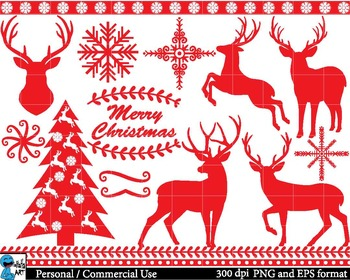Christmas Red Deers - Clip Art Digital Files Personal Commercial Use cod38