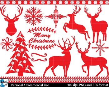 Christmas Red Deers - Clip Art Digital Files Personal Comm