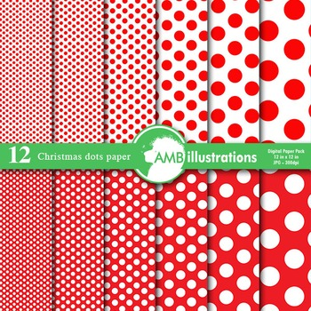 Digital Papers - Christmas Red Dot digital paper and backgrounds, AMB-583