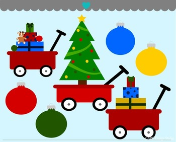 Christmas red wagons ornaments clipart commercial use
