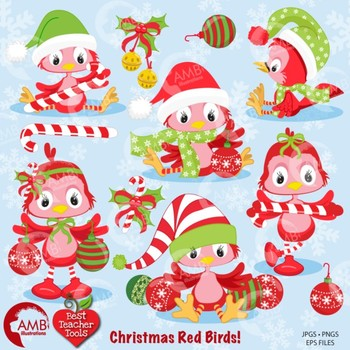 Christmas Clipart, Christmas Red Birds Clipart AMB-193