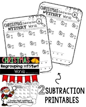 Christmas Regrouping Math Mystery Words