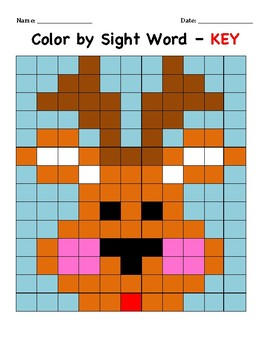 Christmas Reindeer Color By Sight Word