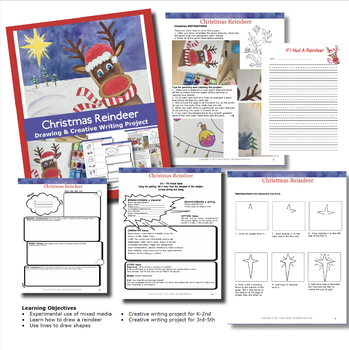 Christmas Reindeer Creative Writing Project Art Drawing & Painting Lesson