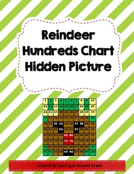 Christmas Reindeer Hundreds Chart Hidden Picture Math Plac