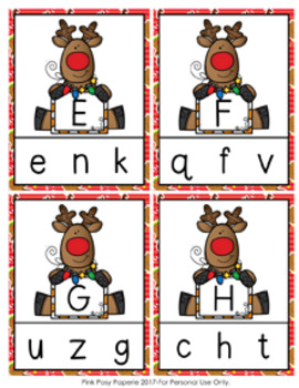 Christmas Reindeer Letter Match Clip Cards