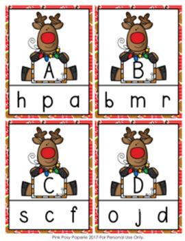 Christmas Reindeer Letter Match Clip Cards
