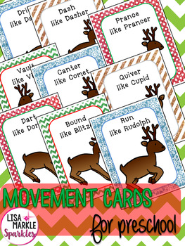 Christmas Reindeer Movement Cards for Preschool