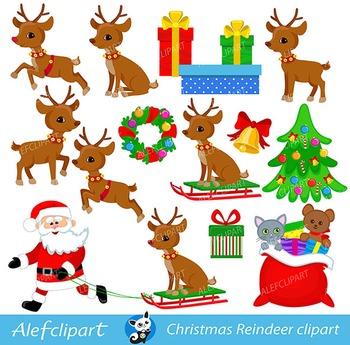 Christmas Reindeer, Rudolf Reindeer, Digital Clipart.