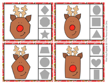 Christmas Reindeer Shapes Clip Cards