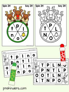 Christmas Reindeer Spinner Games - Math & Literacy, Pre-K Preschool | EDITABLE