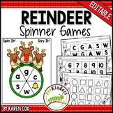 Christmas Reindeer Spinner Games - Math & Literacy, Pre-K Preschool   EDITABLE