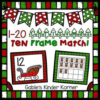 Christmas Reindeer Ten Frame Match