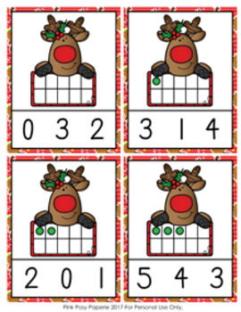 Christmas Reindeer Ten Frames Count and Clip Cards Numbers 0-10