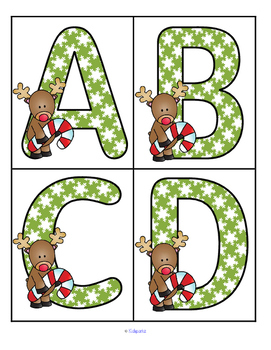 Christmas Reindeer Theme Large Letters Alphabet  Flashcards FREE