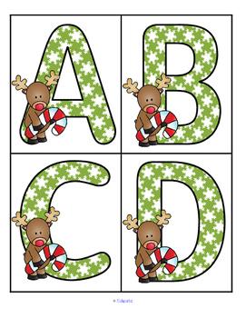Christmas Reindeer Theme Large Letters Alphabet  Flashcards FREE