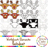 Christmas Clip Art Reindeer Worksheet Elements for Tracing Cutting Maze Outline