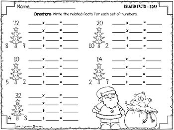 Christmas Related Facts - Multiplication and Division Fact Family Practice 3OA4