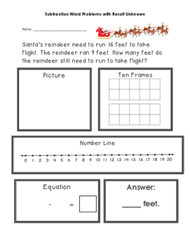 Christmas Result Unknown Subtraction Word Problems