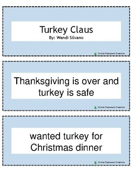 Christmas Retell and Sequence Cards: Turkey Claus
