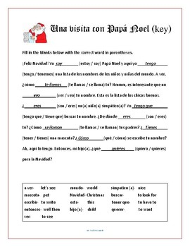 Spanish Christmas Review Activity and Word Search